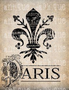 Antique Paris France Fleur de Lis Ornate by AntiqueGraphique