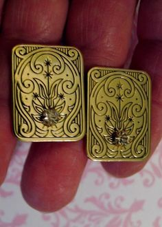 Vintage Estate Etched Nouveau Motif Cufflinks Goldplated with Clear Stone #Unbranded
