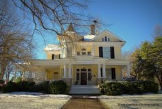 """""""Amarillo in White"""" This is one of a couple amazing homes I photographed during our first BIG snow! The home resides in the historic district of Oxford in Granville County, NC. (2014)  For more photos please check out my page at Scott Garlock Photography https://www.facebook.com/scottgarlockabandoned"""