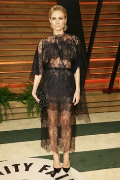 2014's Best Red-Carpet Looks So Far #refinery29  http://www.refinery29.com/best-red-carpet-looks#slide12  Who: Diane Kruger Wearing: Valentino Where: 2014 Vanity Fair Oscar Party Why We Love It: Proving that sexy is more about the suggestion than the actual reveal, Kruger is a total knockout in this semi-sheer, black-lace dress. The actress makes this bold pick work by perfectly balancing seriously elegant and totally badass.