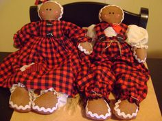 The Gingerbread Duo....Fred and Ginger cloth dolls