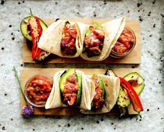Avocado & Aubergine Wraps with Rhubarb Salsa