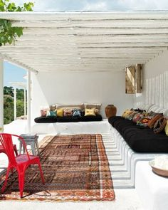 Ibiza style garden house - #bohaime #lounge style. Reminds me of the #sofas in my family's houses in Tunesia. Love, Sarah www.goachi.com