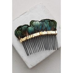 Anthropologie Plumed Hair Comb ($48) ❤ liked on Polyvore featuring accessories, hair accessories, green, green hair accessories, feather hair comb, anthropologie, hair comb accessories and hair comb