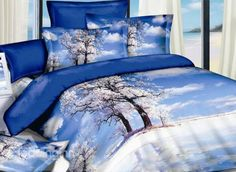 Beautiful Ice River and Tree Print 4-Piece Cotton Duvet Cover Sets #beddingset #duvetcoverset #3dbedding Live a better life start with @beddinginn