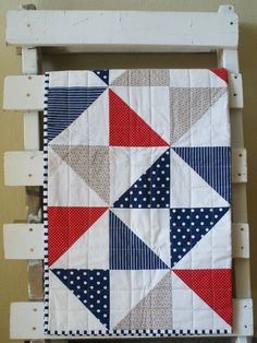 Red White Blue Cot Quilt Pinwheel Nautical Cotton Playmat. Etsy.