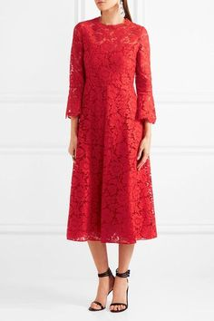 Red corded stretch-silk guipure lace Concealed hook and zip fastening at back  91% silk, 9% elastane Dry clean Made in Italy