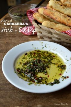Copycat Carrabbas Herb Dip is an easy, fresh, homemade replica of the fresh herbs, olive oil, warm bread served at the popular Italian food chain! - Food And Drink For You Dip Recipes, Appetizer Recipes, Dinner Recipes, Cooking Recipes, Healthy Recipes, Bread Appetizers, Italian Appetizers, Herb Recipes, Cooking Tips