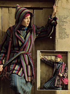 Crocheted hooded jacket and cap! Eh, on the colors but SOMEONE PLEASE make this for me, LOL!