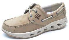 Columbia Boatdrainer Leather PFG Beige Boat Shoes Men's - New - BM2546 #Columbia #BoatShoes
