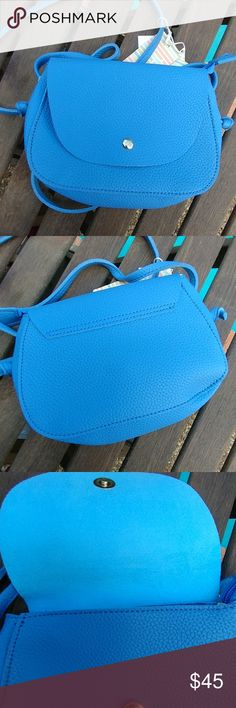 Mini crossbody bag Vegan faux suede interior made out of polyester, light and soft Beautiful blue color trending. Bags Crossbody Bags
