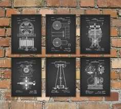 Tesla Patent Prints - Nikola Tesla Engineering Invention Patent - Tesla Motors - Tesla Coil Generator - Electric Circuit Poster Set Of 6  This set