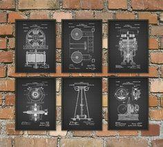 Tesla Patent Prints - Nikola Tesla Engineering Invention Patent - Tesla Motors - Tesla Coil Generator - Electric Circuit Poster Set Of 6  This set