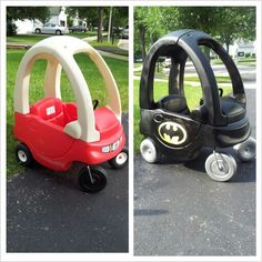 Haha! Wrap your kiddie car in matte black to make the Batmobile!