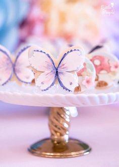 Butterfly cookie from a Flitting Fairy Garden Birthday Party on Kara's Party Ideas   KarasPartyIdeas.com (14)