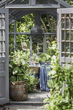 Raindrops and Roses Outdoor Rooms, Outdoor Gardens, Outdoor Living, What Is A Conservatory, Raindrops And Roses, Home Vegetable Garden, She Sheds, My Secret Garden, Shed Plans