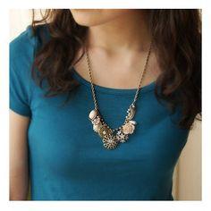 Vintage Snowflake Rose Charm Necklace