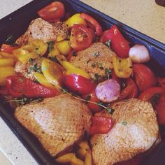 Sticky Baked Chicken from Jamie Oliver's recipe. Super easy to make and so delicious!   Ingredients:  3 ripped tomatoes, wedged  1 red pepper, chopped into large pieces 1 yellow pepper, chopped into large pieces 2 onions, wedged  4 garlic cloves, crushed with skin on  5 chicken thigh  2 tablespoons of paprika powder  3 tablespoons of olive oil and balsamic vinegar  Salt and pepper to taste  190 degrees Celsius, bake for 1 hour   Serve with pasta or salad!