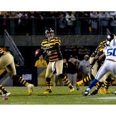 """Ben Roethlisberger Pittsburgh Steelers Fanatics Authentic Autographed 16"""" x 20"""" Dropback Pass vs. Indianapolis Colts Photograph with Steeler Record Inscriptions - Limited Edition 2-49 of 50"""
