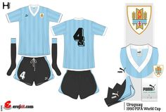 Uruguay home kit for the 1990 World Cup Finals.