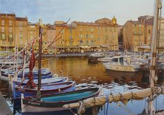 Thierry Duval was born in Paris, France. His watercolors are characterized by a strong light and precision in drawing, being almost or hyperrealist in the results mainly in his Paris watercolors. Watercolor City, Watercolor Landscape, Watercolor Paintings, Watercolors, Oil Paintings, Saint Tropez, Paris Painting, Boat Art, Renaissance