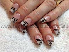Gel nails, french nails, hand painted nail art, glitter, silver glitter, konad stamping nail art.