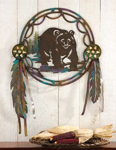 COLLECTIONS ETC.         Bear in a Dreamcatcher Woodland Metal Wall Decor