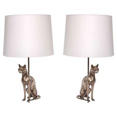 Pair of 1920s Silvered Bronze Sculptural Siamese Cat Table Lamps | From a unique collection of antique and modern table lamps at https://www.1stdibs.com/furniture/lighting/table-lamps/