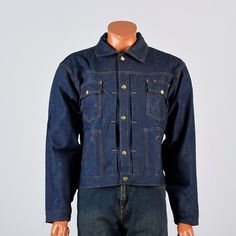 NOS Deadstock 1970s jean jacket, selvege denim, selvadge denim. Mens style, mens fashion, vintage menswear, vintage mens style, vintage fashion, vintage denim