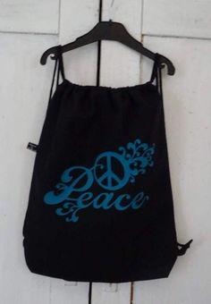 Turnbeutel schwarzer Beutel Peace Tasche von MeinekreativeWelt