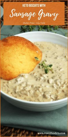 """Biscuits with sausage gravy is a Southern breakfast classic, but this recipe has a twist - keto """"biscuits."""" Now you can have a low carb, hearty meal in the morning without veering off your low carb lifestyle. #ketobiscuits #sausagegravy #lowcarbbiscuits #biscuitsandgravy #healthybreakfast #lowcarbbreakfast #ketobreakfast"""