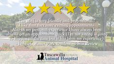 Another 5 Star Review! | The veterinarians at Tuscawilla Animal Hospital care about cats and dogs too! Call us today to schedule an appointment today! #dogs #pets #cats Veterinarians, Winter Park, Appointments, Schedule, Dog Cat, Shit Happens, Star, Pets, Animals