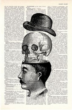 Victorian Man and Skull with Hat Collage Print ~ by PRRINT