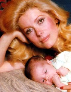 Catherine Deneuve and her daughter Chiara (daughter from her marriage to actor Marcello Mastroianni) photographed for the French ELLE in 1972.