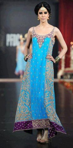 blue long kamez dress, pakistani designer dress, heavy work