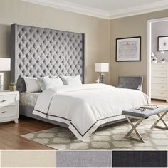 Naples Wingback On Tufted 84 Inch High Headboard Platform Bed By Inspire Q