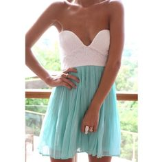Lace and blue sweetheart dress Cute and flirty turquoise and white strapless dress perfect for school dances or weddings  Sabo Skirt Dresses Prom