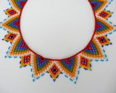Peyote beaded Multicolor Native Mexican ethnical by LucianaLavin