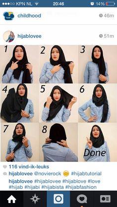Hijab tutorial, black pashmina shawl
