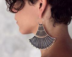 Hoop Earrings - Art Deco Earrings - Brass Earrings - Statement Earrings on Etsy, $119.30