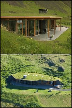 Von oben oder hinten ist dieses Sommerhaus in der weiten und herrlichen isländi… From above or behind, this summer house is invisible in the vast and beautiful Icelandic landscape! See more of this amazing home by going to our page now! Green Architecture, Architecture Design, Residential Architecture, Contemporary Architecture, House Roof, My House, Bunker House, Earth Sheltered Homes, Earthship Home