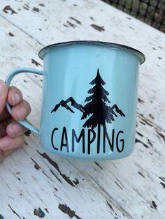 Camping  Mug Enamel Mug Camping Coffee Cup Vinyl Mug by LunaSavita