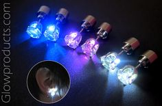 Glowing Light Up LED Earrings! http://glowproducts.com/products/JWEARL #GlowEarrings #LightEarrings