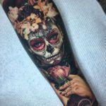Flowery Day of the Dead Forearm Piece   Best tattoo ideas & designs