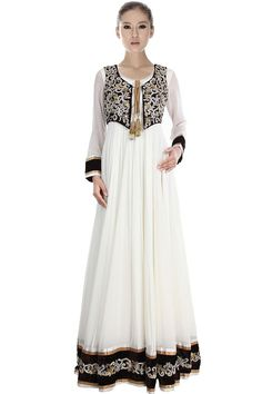 Embroidered Readymade Anarkali Suit with sequence work in White & Blac – USMART NY