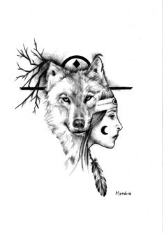 Native american girl with wolf realistic tattoo design by Mandira