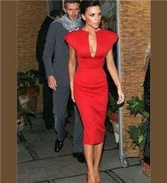 Chic Deep Vee Elegant Dress in Red, Blue or Black