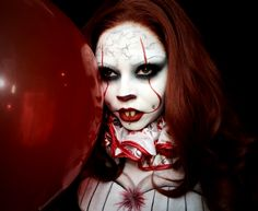 PENNYWISE THE DANCING CLOWN | Follow me on Instagram @voodoobarbiedoll | Pennywise the Clown, Pennywise makeup, It the Clown, Cosplay, Cosplay makeup, Horror, Creepy, Scary, Clown, Creepy clown, SFX, Special Effects makeup, Halloween, Halloween makeup, Lace front wig, Character makeup, Circus makeup, Carnival