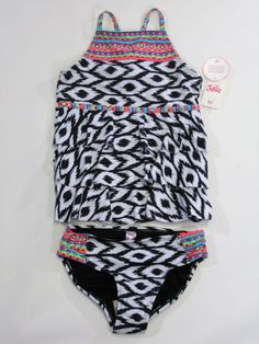 bc57304a64 NWT Justice Kid Girls Size 6 7 or 8 Black White Ikat Ruffle Tankini Bathing  Suit