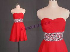 2015 short red chiffon prom dress with by PrincesssBride on Etsy
